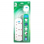 DE 293 3 Way Elegant Socket Strip With Surge Protector 2 Meter