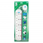 DE 295 5 Way Elegant Socket Strip With Surge Protector 2M