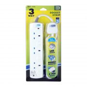 DE 283 LED 3 Way Socket Strip With Surge 3M