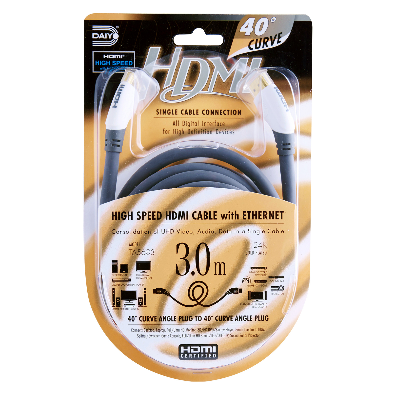 TA 5683 Curve Angle 4k HDMI Cable Ethernet 3m