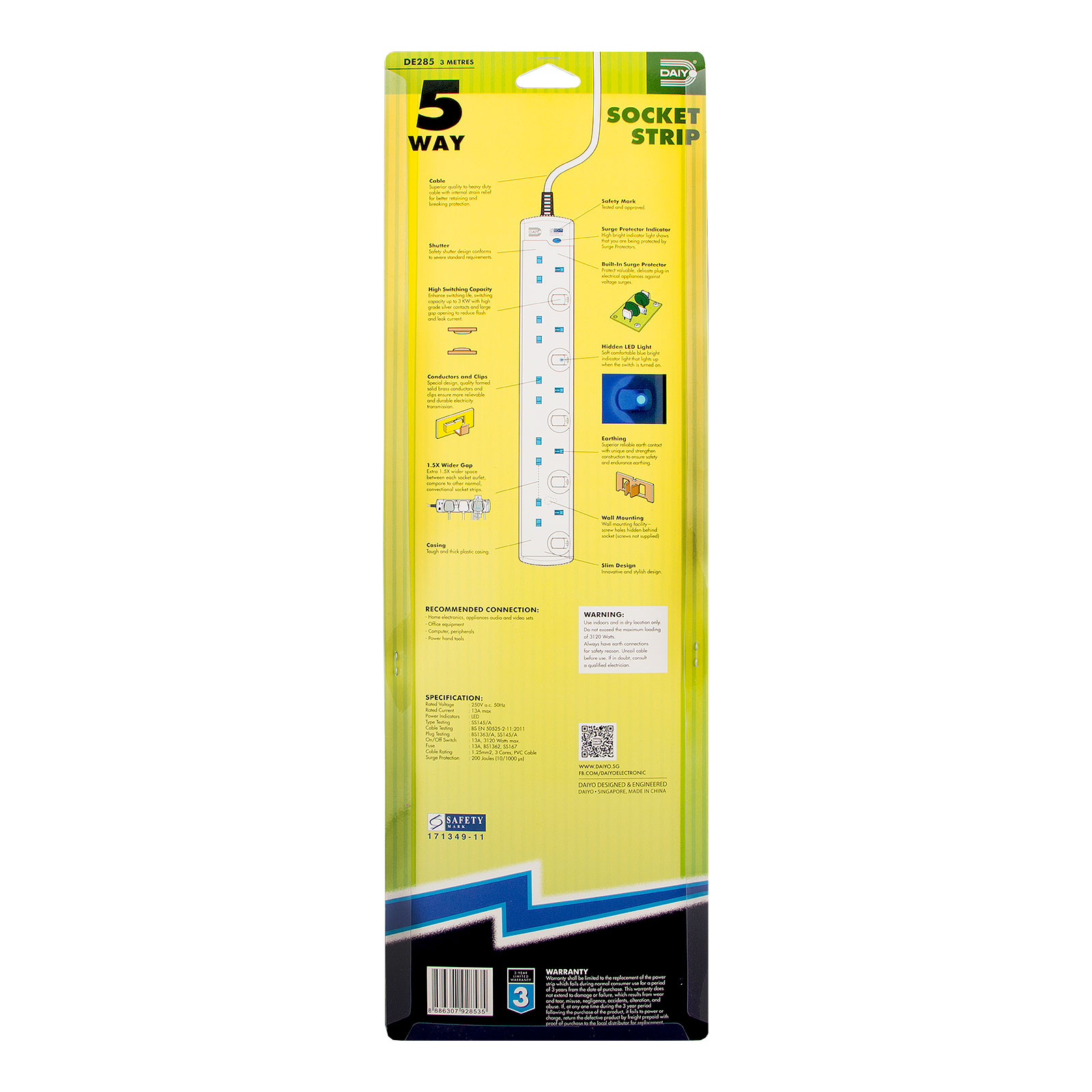 DE 285 LED 5 Way Socket Strip With Surge 3M