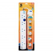 DE 285 LED 5 Way Socket Strip With Surge 6M